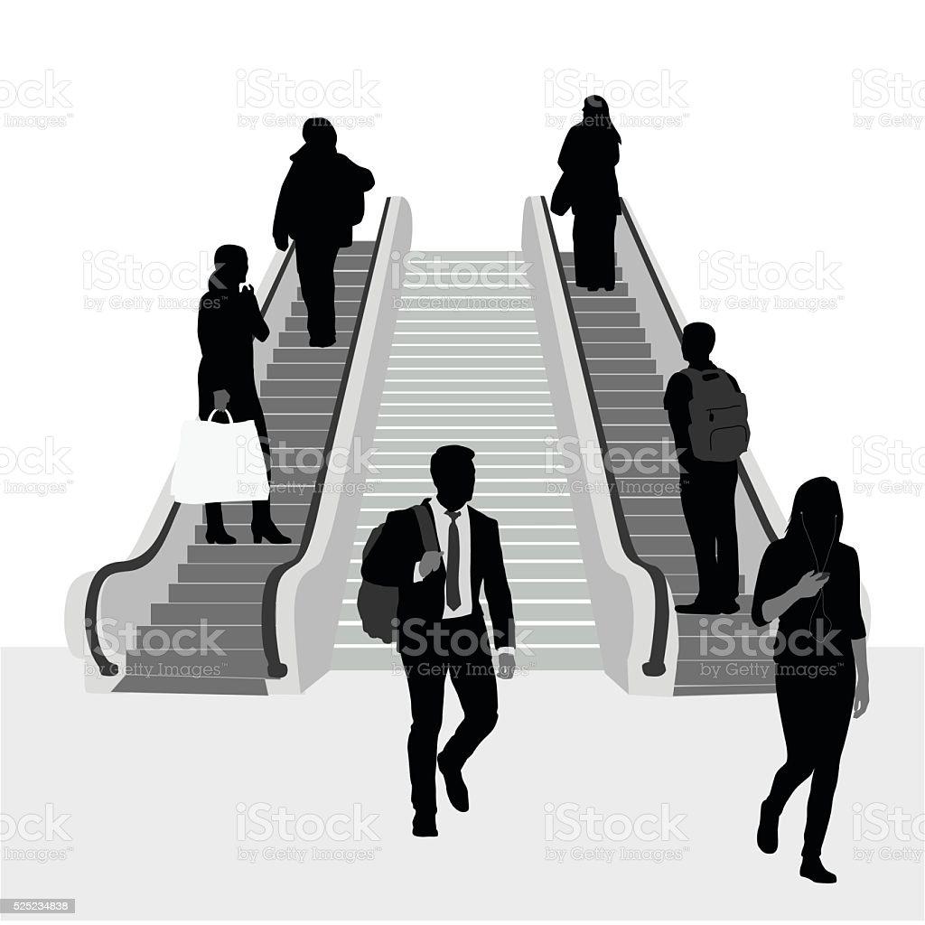 Off To Work Escalator Crowd vector art illustration