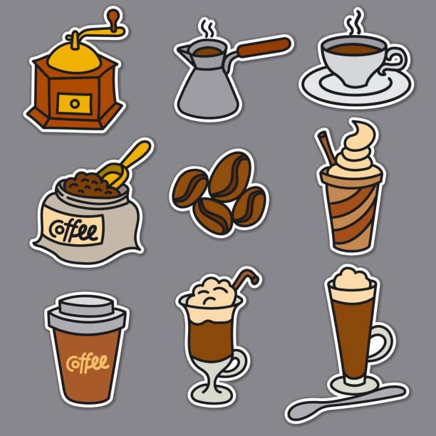ilustrações de stock, clip art, desenhos animados e ícones de offee drinks stickers - café solúvel