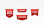 Offer tag set. Vector discount stickers