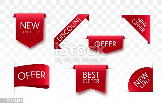 Offer tags collection. Vector badges and labels isolated.