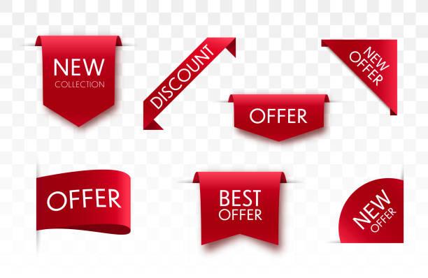 ilustrações de stock, clip art, desenhos animados e ícones de offer tags collection. - new