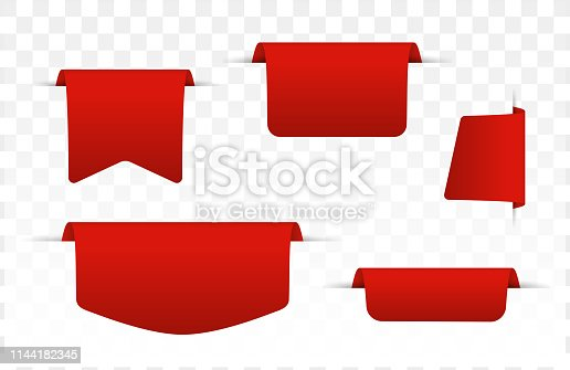 Free download of Red ribbon on blank sale tag Vector Graphic