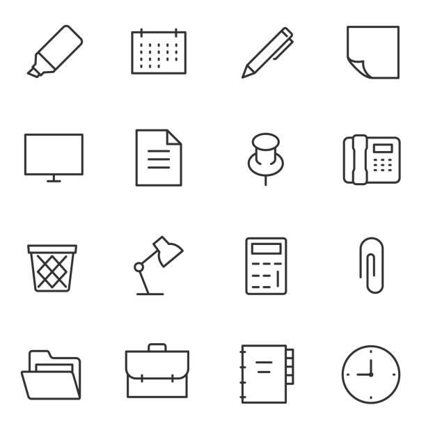 사무실 액세서리 및 도구의 아이콘 설정합니다. 편집 가능한 획 선 - 클립 문구류 stock illustrations