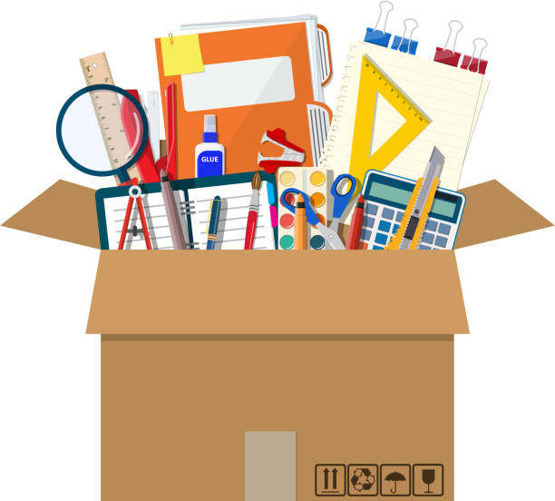Office accessories in cardboard box. Office accessories in cardboard box. Book, notebook, ruler, knife, folder, pencil, pen, calculator scissors paint tape file. Office supply stationery and education. Vector illustration flat style office equipment stock illustrations