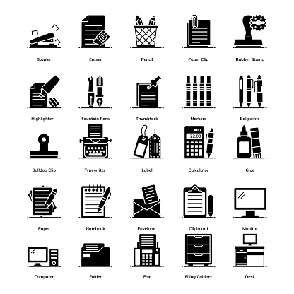 Office Accessories In Modern Filled Style Pack