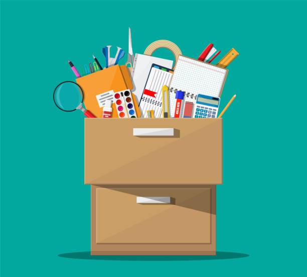 bildbanksillustrationer, clip art samt tecknat material och ikoner med office tillbehör i trä låda. - byrålåda