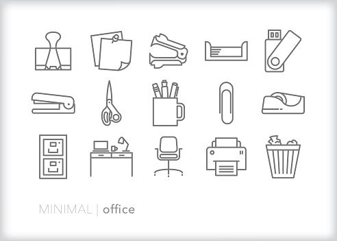 Office accessories line icon set