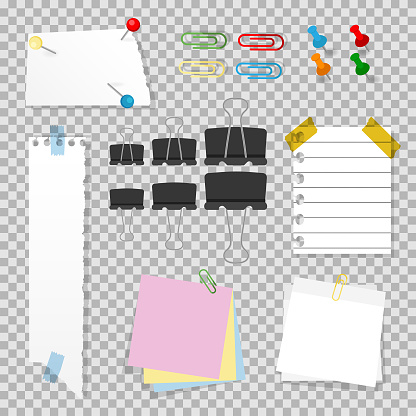 Office accessories set with push pins, staples, clips, note paper, sticky sheets and scotch.