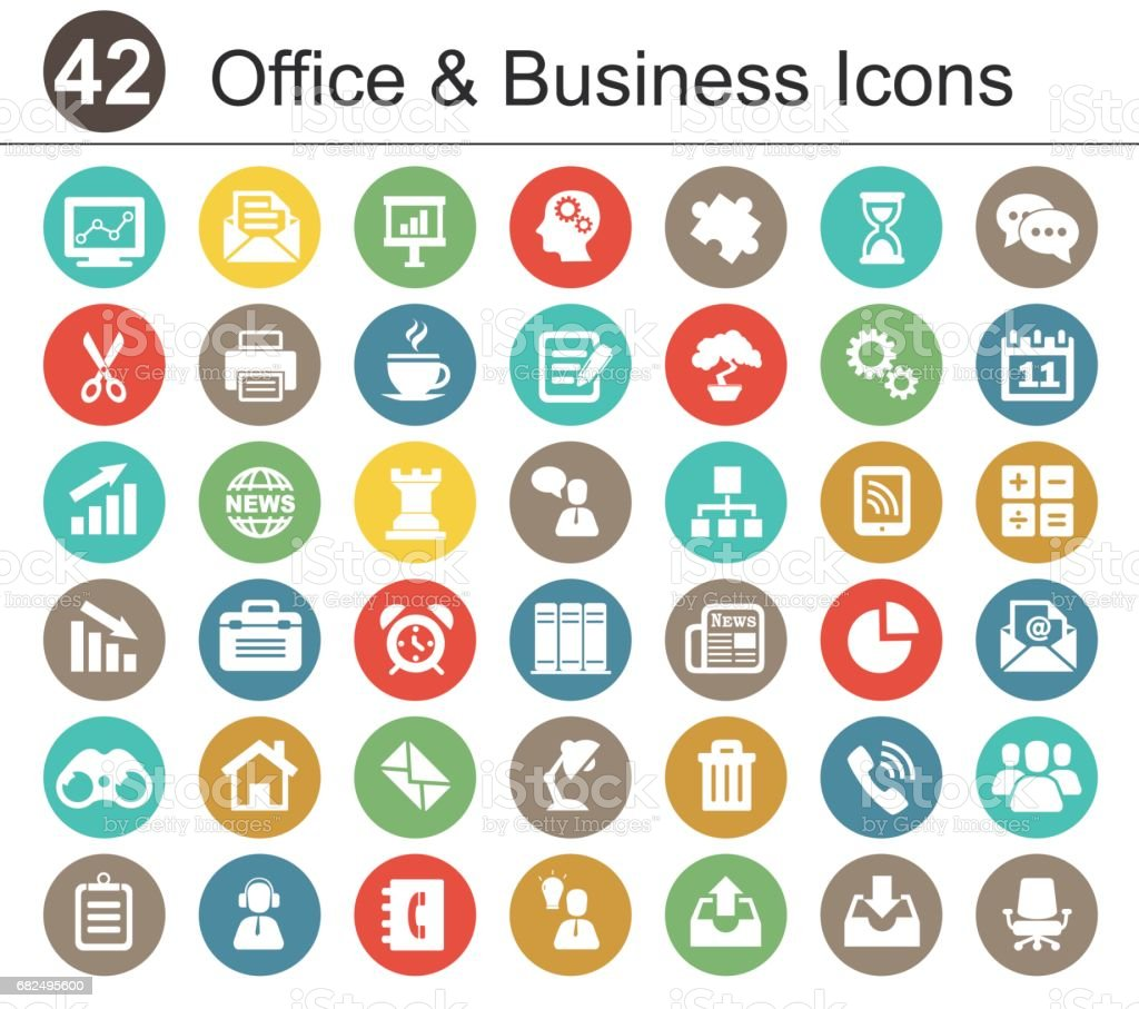 Office and Bisiness Icon Set vector art illustration