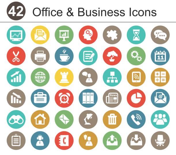 illustrations, cliparts, dessins animés et icônes de bureau et business icon set - icônes du monde des affaires