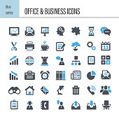 Vector office and business icon set. Green series
