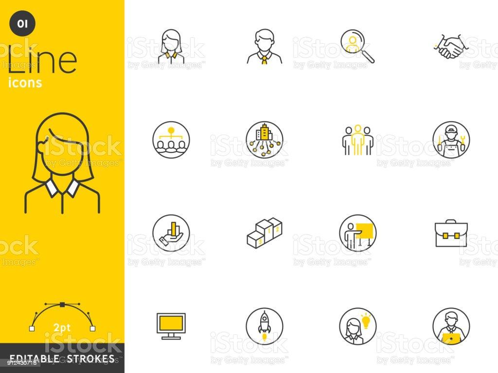 Escritórios e empresas linha coleção ícones, traços editáveis. Para conceitos móveis e web apps. Ilustração em vetor, design limpo plano - ilustração de arte em vetor