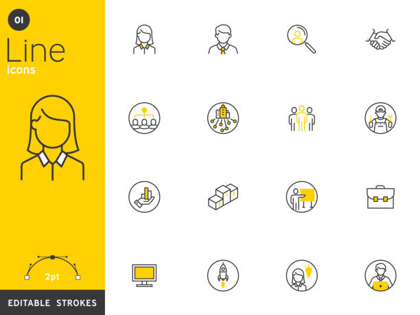 ilustrações de stock, clip art, desenhos animados e ícones de office and business line icons collection, editable strokes. for mobile concepts and web apps. vector illustration, clean flat design - business woman