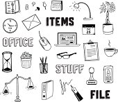 Vector collection of hand drawn doodles of business objects and office items. Isolated on white background