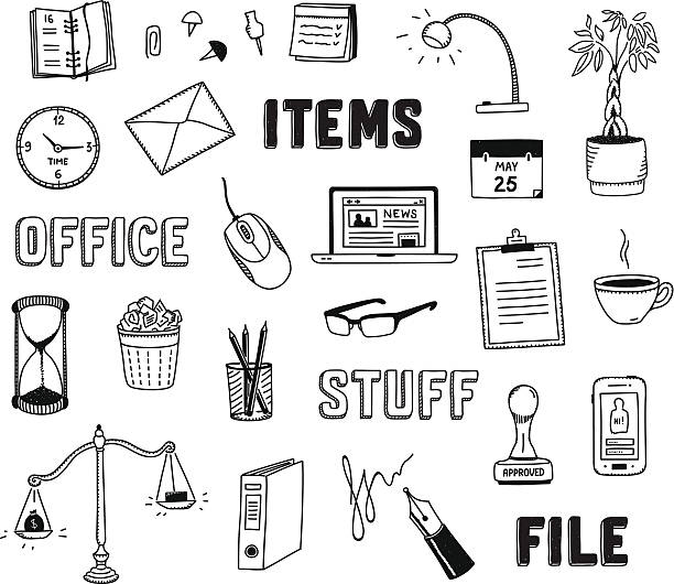 Office and business objects doodles set Vector collection of hand drawn doodles of business objects and office items. Isolated on white background signature collection stock illustrations