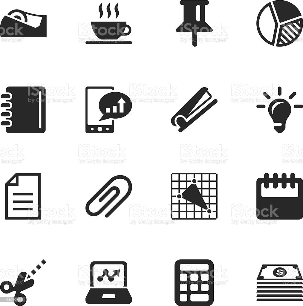 Office and Business Silhouette Icons royalty-free stock vector art