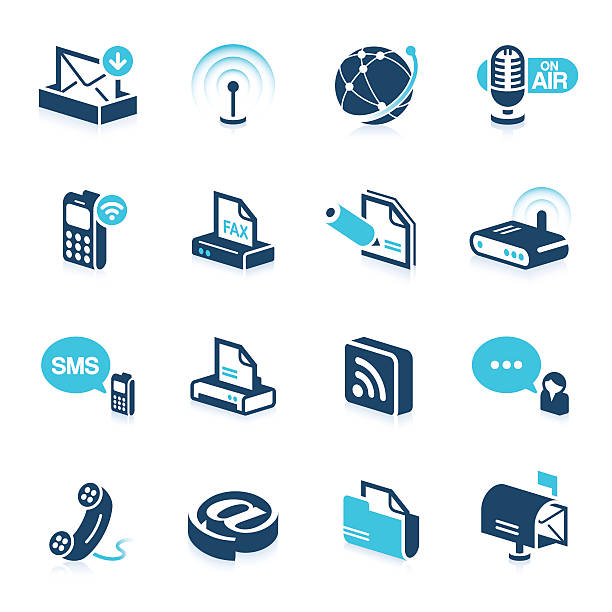 Bureau et Icônes de Communication série/star - Illustration vectorielle