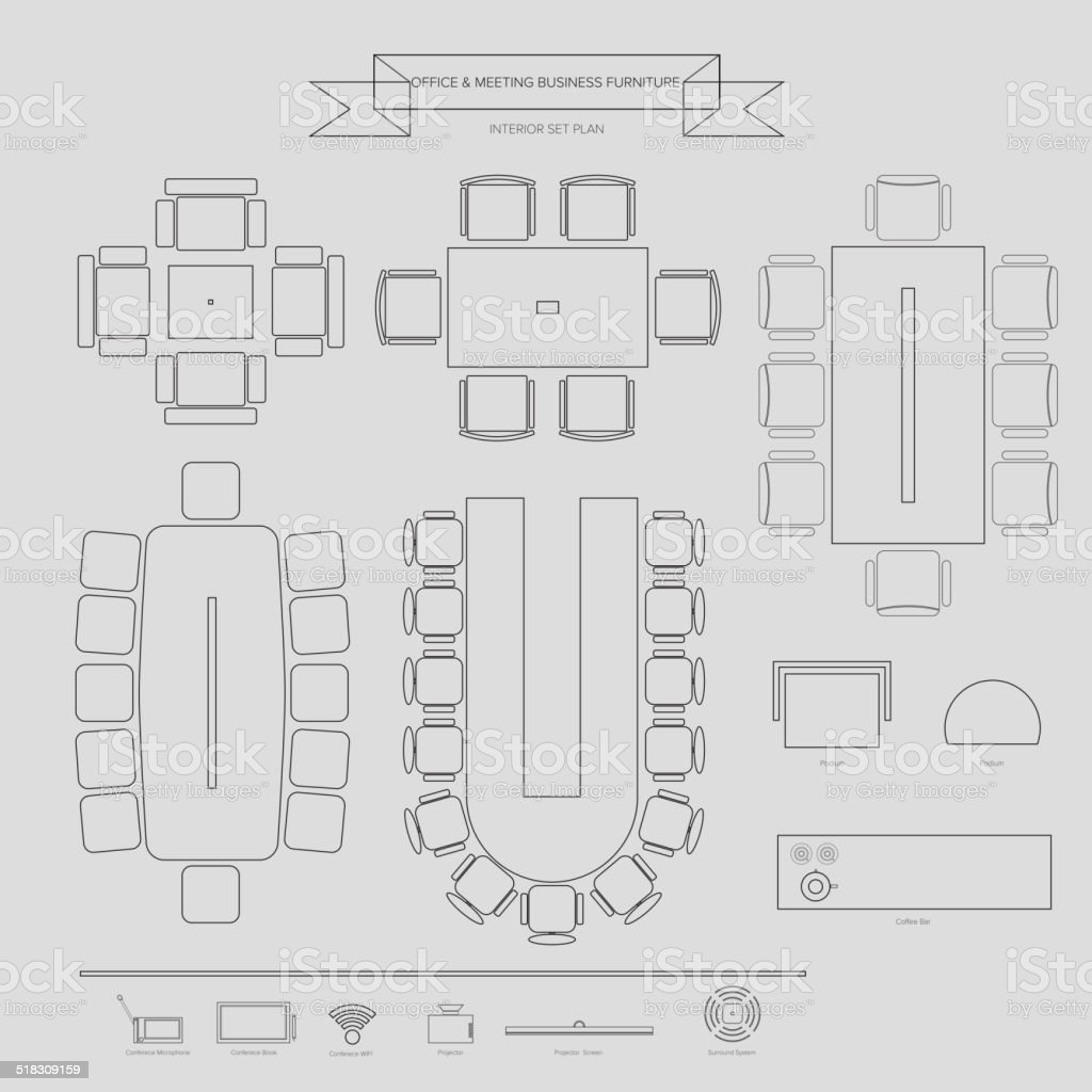Office and Conferance Business outline Furniture Icon vector art illustration