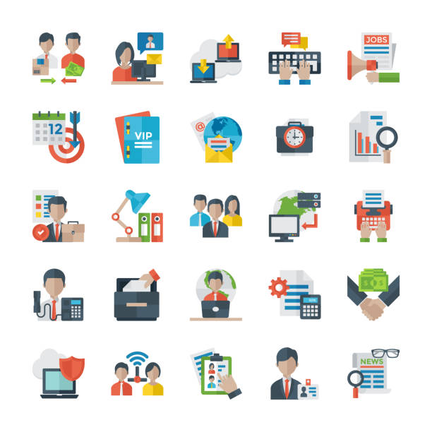 Office And Internet Flat Icons vector art illustration