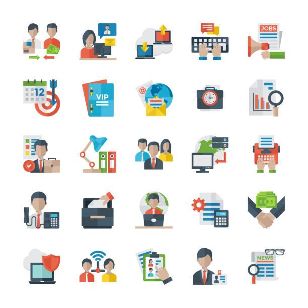 flache symbole für büro und internet - projektmanager stock-grafiken, -clipart, -cartoons und -symbole