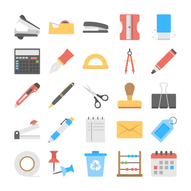 Office and Stationery Flat Vector Icons Set This is bold and bright set of stationery flat icons. This pack offers a friendly collection to help with all stationery flat icons needs. stapler stock illustrations