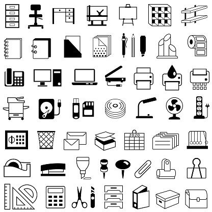 Office and Stationery Supplies, Equipment and Furniture Icons