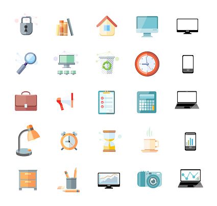 Office and time management icon set