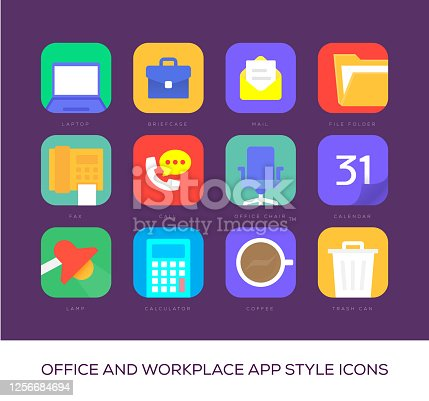 Office and Workplace App Style Icons