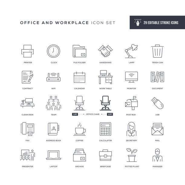 ofis ve i̇şyeri düzenlenebilir kontur hattı simgeleri - office stock illustrations