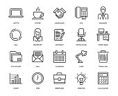 Office and Workplace Icon Set - Thin Line Series