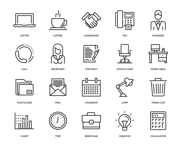 オフィスや職場のアイコンを設定 - 机点のイラスト素材/クリップアート素材/マンガ素材/アイコン素材