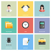 Office and Workplace Icon Set Flat Design