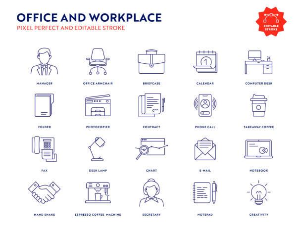 büro- und arbeitsplatzsymbolset mit bearbeitbarem hub und pixel perfect. - büromaterial stock-grafiken, -clipart, -cartoons und -symbole