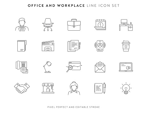 Office and Workplace Icon Set with Editable Stroke and Pixel Perfect.