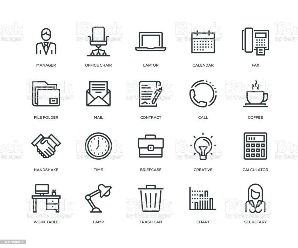 Ofis ve işyeri simgeler - Line serisi - Royalty-free Adamlar Vector Art