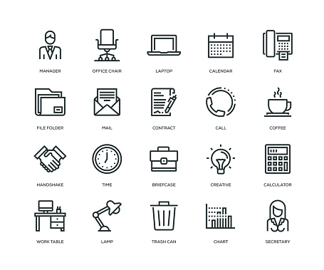 Office and Workplace Icons - Line Series clipart