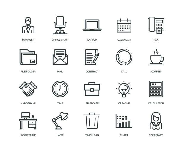 ilustrações, clipart, desenhos animados e ícones de escritório e local de trabalho ícones - linha série - carteira