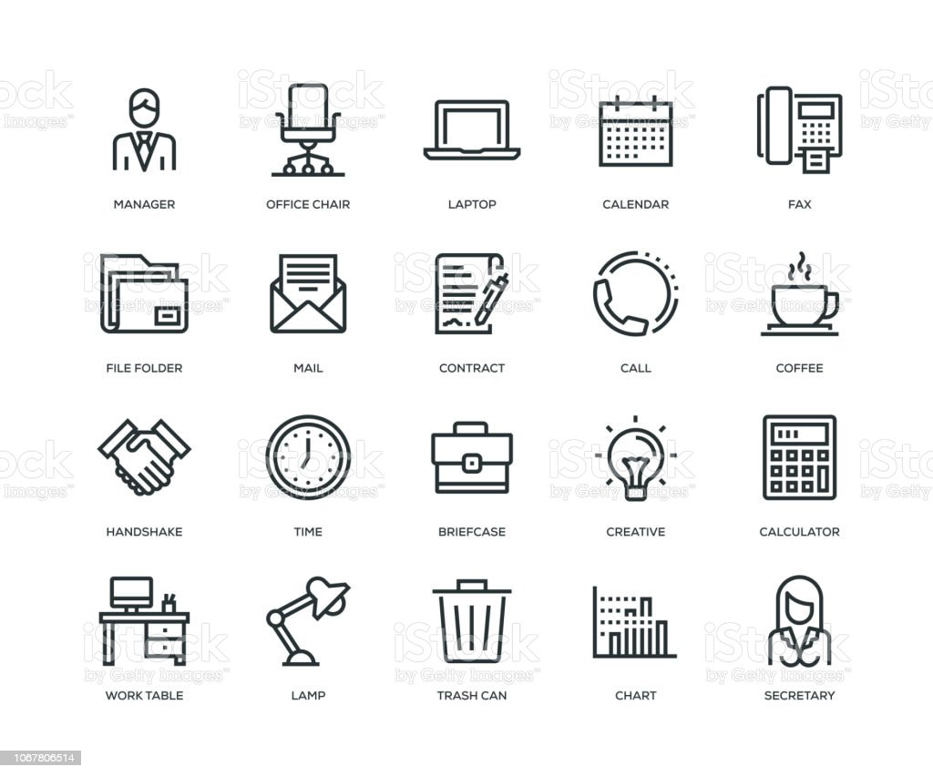 Office and Workplace Icons - Line Series vector art illustration