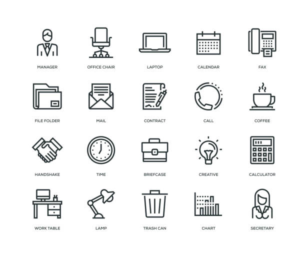 office and workplace icons - line series - office stock illustrations