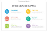 Infographics design vector with icons, can be used for workflow layout, diagram, annual report, and web design. Office and Workplace concept with 6 options, steps or processes.