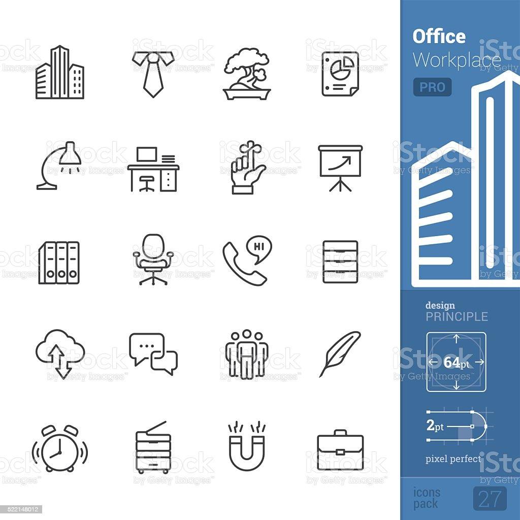 Lieu de travail de bureau et icônes vectorielles-pack PRO - Illustration vectorielle