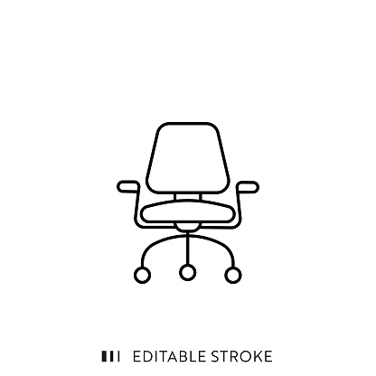 Office Armchair Line Icon with Editable Stroke and Pixel Perfect.