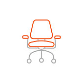 istock Office Armchair Line Icon with Editable Stroke 1286694012
