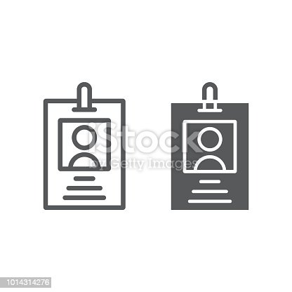 Office badge line and glyph icon, office and work, card sign, vector graphics, a linear pattern on a white background, eps 10.