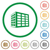 Office block flat icons with outlines