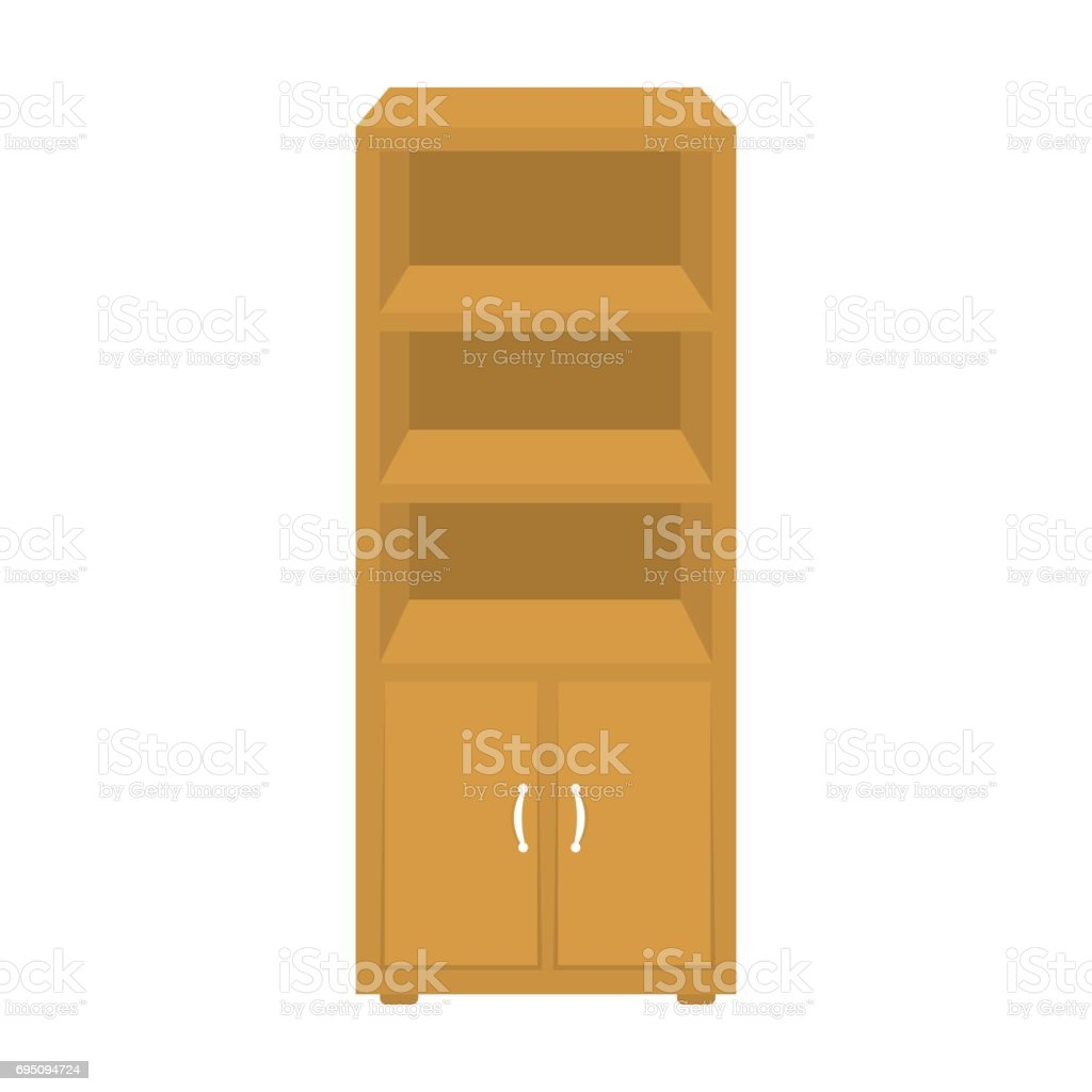 Office Bookcase Icon In Cartoon Style Isolated On White