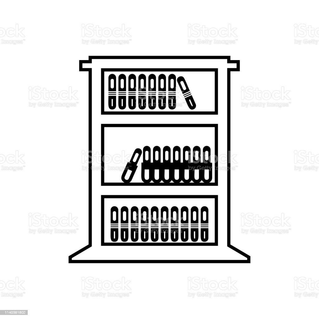 Office bookshelf Icon vector - Bookshelf sign