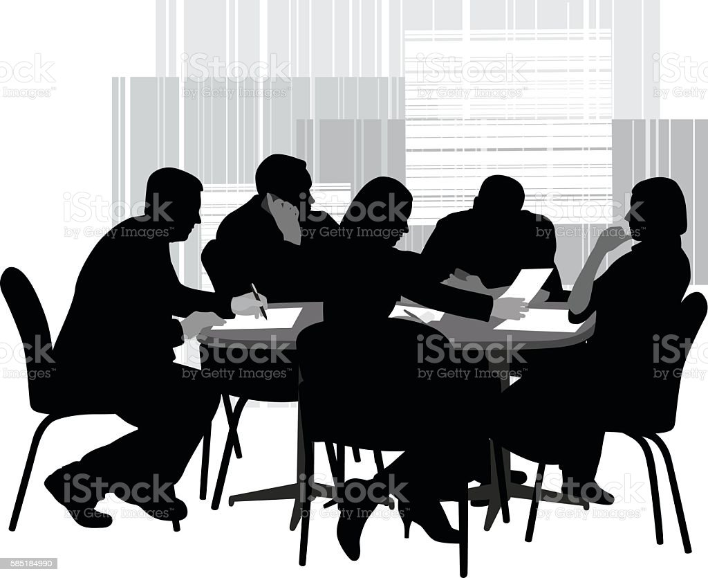 Office Brainstorming Session vector art illustration