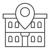 Office building and map pin thin line icon, Coworking concept, Building on map sign on white background, Office location pin icon in outline style for mobile concept, web design. Vector graphics