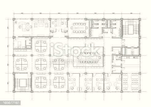 istock office building architectural plan 165677161